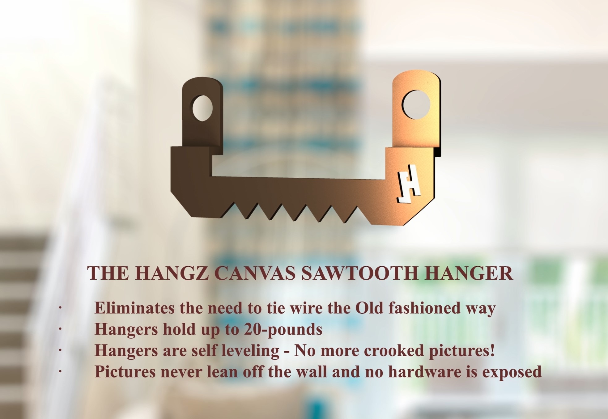 3 sets per pack HangZ Canvas Flat Mount Sawtooth Hanger 20lb 20000 These hangers are designed for canvas /& open back frames.
